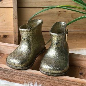 🍂🍁Mini Melissa Glittery Rain Boots Gold Sz 8🍁🍂